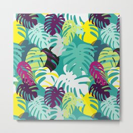 Tropical summer with monstera leaves in vibrant color palette Metal Print