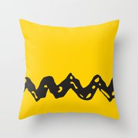 charlie brown Throw Pillows featuring Good Grief Charlie Brown! by craigomatic