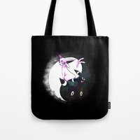 umbreon Tote Bags featuring YIN YANG ESPEON AND UMBREON by Cursed Rose