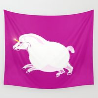 fat Wall Tapestries featuring Fat Unicorn by Fauna Follies
