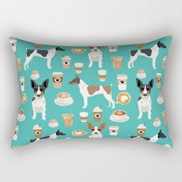 Rat Terrier coffee dog breed pet portrait dog pattern dog breeds gifts for dog lovers Rectangular Pillow