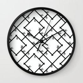 Bamboo Chinoiserie Lattice in White + Black Wall Clock