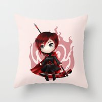 rwby Throw Pillows featuring Ruby by Louiology