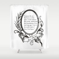 "jane austen Shower Curtains featuring Jane Austen ""In the Middle"" by ArtSoElectric"