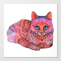 sunset Canvas Prints featuring SUNSET CAT by Ola Liola