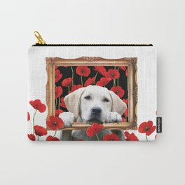 Golden Retriever in frame around of poppies Carry-All Pouch