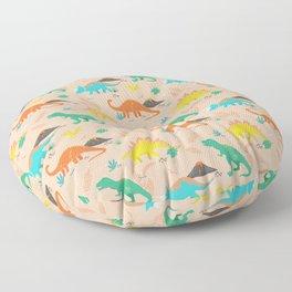Jurassic Dinosaurs on Peach Floor Pillow