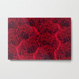 Rouge Garden - Red Roses and Peonies Pattern Metal Print