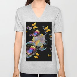 SURREAL GOLDEN YELLOW BUTTERFLIES  & SOAP BUBBLES Unisex V-Neck
