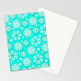 Retro Winter Collection Snowflake Teal Stationery Cards