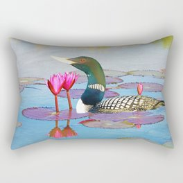 Yellow Billed Loon and Pink Lotus Flowers Rectangular Pillow
