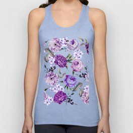 Elegant Girly Violet Lilac Purple Flowers Unisex Tank Top