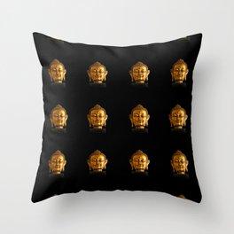 Budhha Golden Head by Lika Ramati Throw Pillow