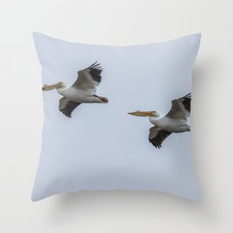Pair of American White Pelicans in Flight Throw Pillow