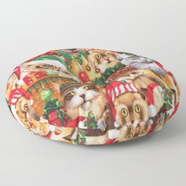 Lovely Christmas Cat Family, Cat Glare Design Floor Pillow