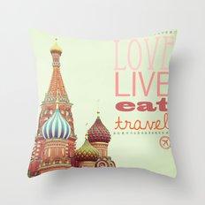 Love, Live, Eat, Travel Throw Pillow