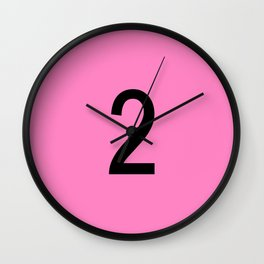 NUMBER 2 (BLACK-PINK) Wall Clock