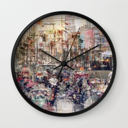 Saigon, abstract city life and traffic concept -   street photography  double exposure Wall Clock