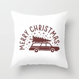 Merry Christmas Station Wagon Throw Pillow