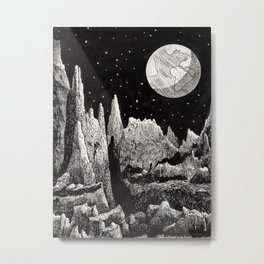 View of Earth from a very rocky moon - 1911 Space Landscape Fantasy Science Fiction Landscape Astro Metal Print