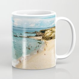 People Having Fun On Beach, Algarve Lagos Portugal, Tourists In Summer Vacation, Wall Art Poster Coffee Mug