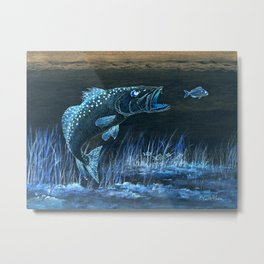 Trout Attack In Blue Metal Print