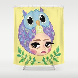 Owl girl Shower Curtain