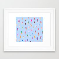 ice cream Framed Art Prints featuring Ice Cream by leah reena goren