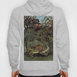 THE HUNGRY LION ATTACKING AN ANTELOPE - ROUSSEAU Hoody