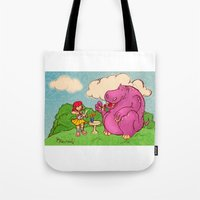 hippo Tote Bags featuring Hippo by Rafael Paschoal