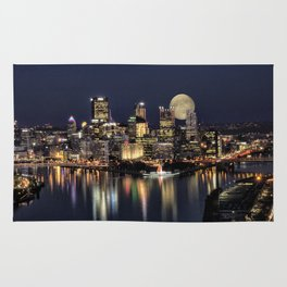 Moon Rise Over Pittsburgh Rug