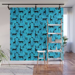 Animal kingdom. Black silhouettes of wild animals. African giraffes, leopards, cheetahs. snakes, exotic tropical birds. Tribal primitive ethnic nature blue grunge distressed pattern. Wall Mural