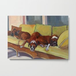 Boxer Dog Siesta Metal Print