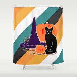 Witch Cat Pumpkin in Candy Corn Shower Curtain