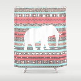 Elephant Aztec Pattern Pastel Peach Aqua Print Shower Curtain