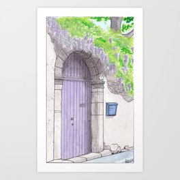 Violet Door surrounded by a violet Wisteria Art Print