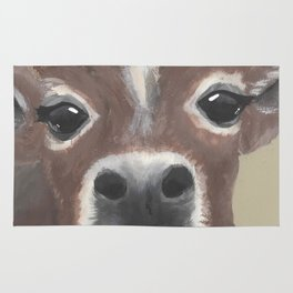 Original Painting - Farmyard Friends - Calf - Cute cow painting Rug