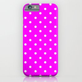 DOTS (WHITE & FUCHSIA) iPhone Case