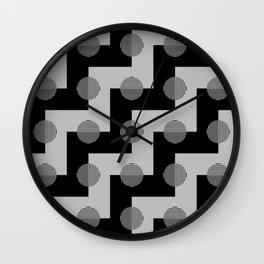 Geometric Zig Zags & Circles Pattern - Black White Gray Wall Clock