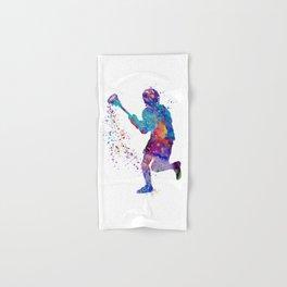 Lacrosse Boy Colorful Watercolor Art Sports Gift Hand & Bath Towel