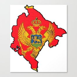 Montenegro Map with Montenegrin Flag Canvas Print