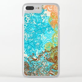 Indian boho pattern with ornament in blue, ornage and green Clear iPhone Case