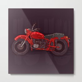 red vintage motorcycle Metal Print