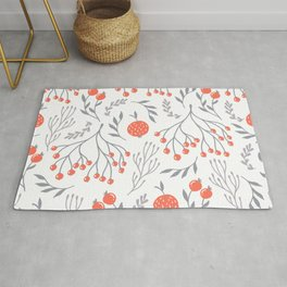 Red Berry Floral Rug