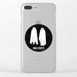 No Feet Ghosts Black and White Graphic Clear iPhone Case