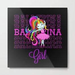 Cute unicorn ballerina girl dancing in dress Metal Print