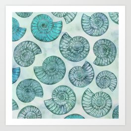 Shimmering Underwater Shell Scenery Aqua Colors Art Print