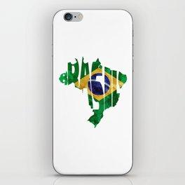 Brasil Typographic World Map / Brasil Typography Flag Map Art iPhone Skin