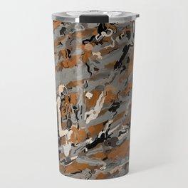 Gray, Black and Caramel Abstract Travel Mug