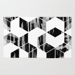 Elegant Black and White Geometric Design Rug